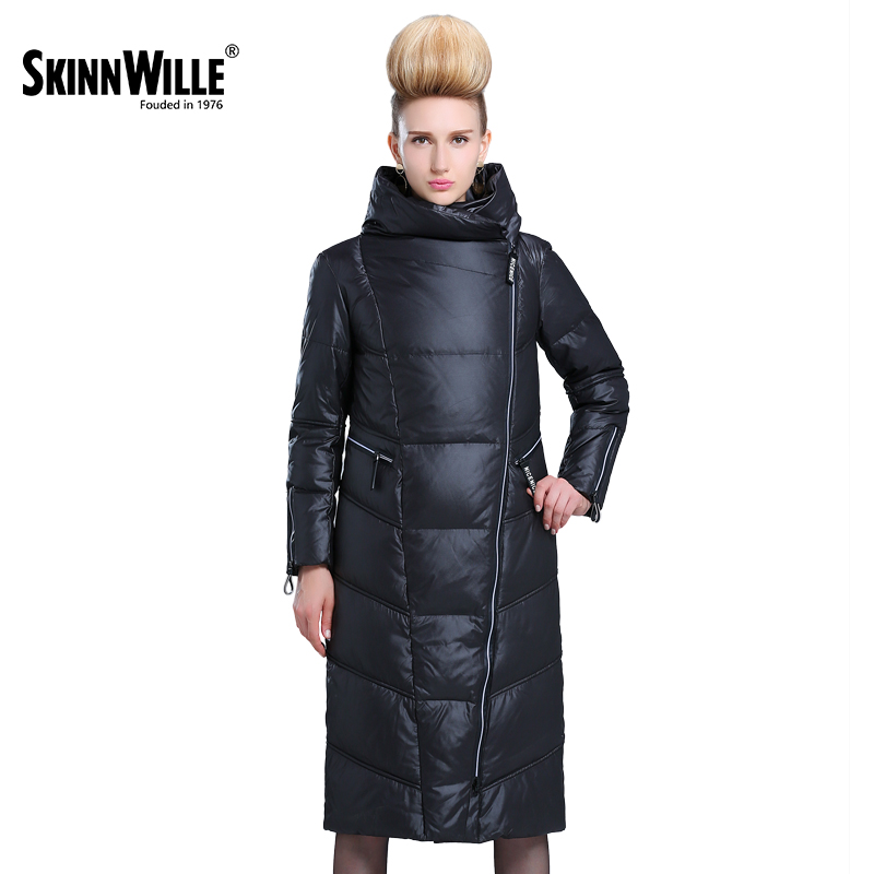 SKINNWILLE colección de invierno 2017 Chaqueta larga de plumón Más chaqueta recta de abajo para mujer