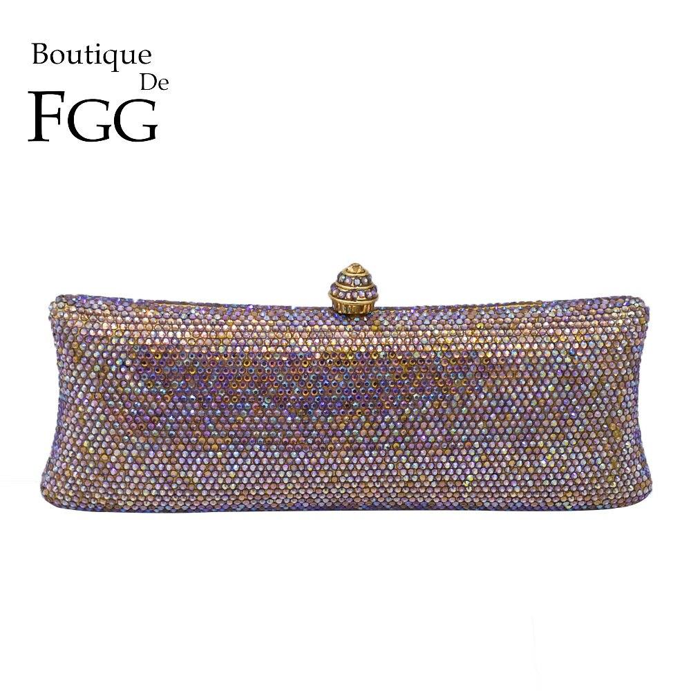 Boutique De FGG Dazzling Multi AB Cristal Caso Difícil de Embreagem Mulheres À Noite Cocktail de Casamento Nupcial Bolsa Bolsa de Diamantes de Metal