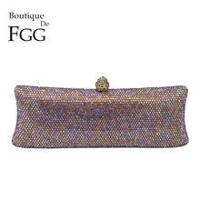 92a5ab738a74 Boutique De FGG пестрящими Crystal AB женские вечерние клатч жесткий  металлический корпус Свадебный Коктейль сумочка невесты