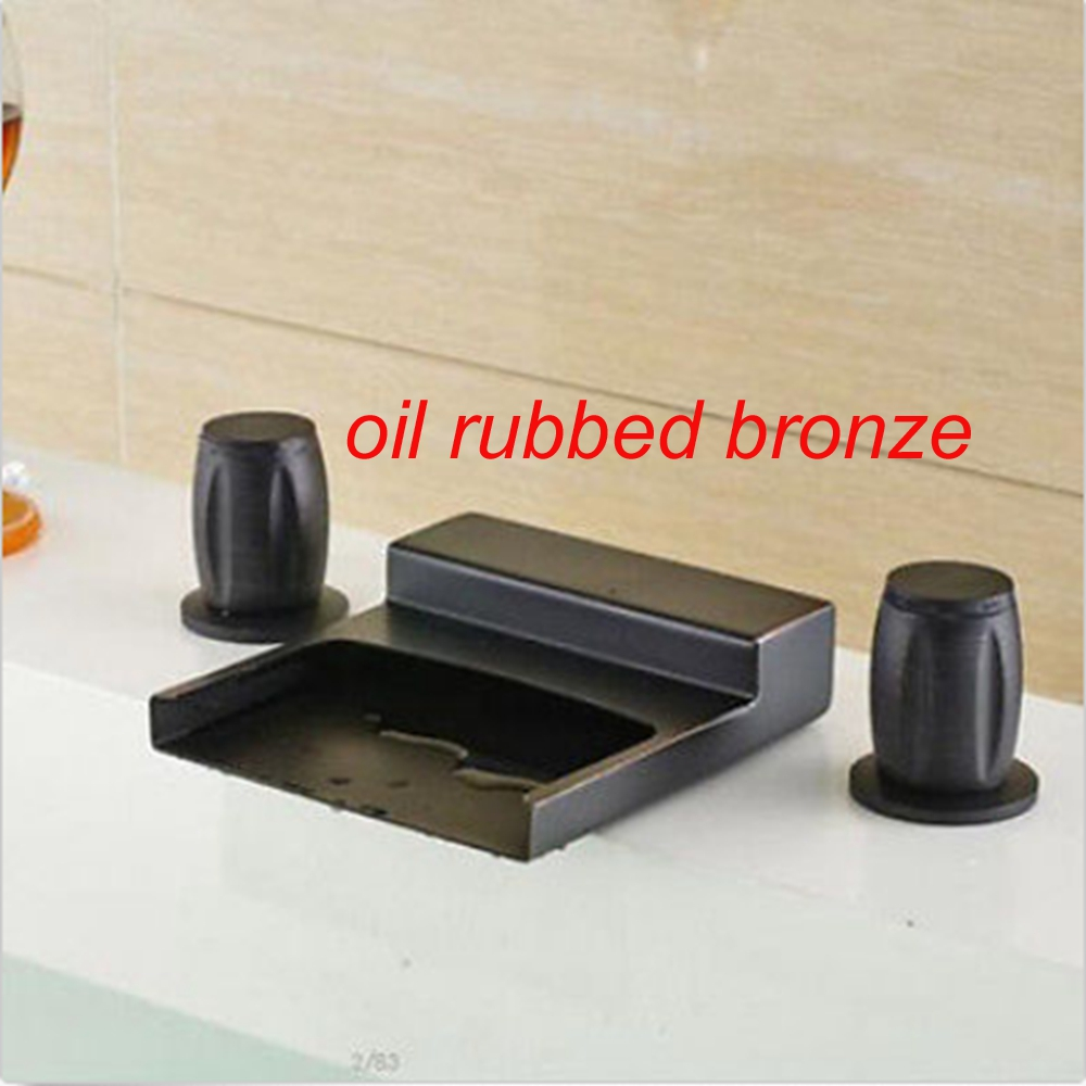 Uythner Oil Rubbed Bronze Bathroom Faucet Dual Handles Brass Faucet Mixer Tap Deck Mount uythner wall mount oil rubbed bronze dual handles ceramic base bathroom sink faucet tap
