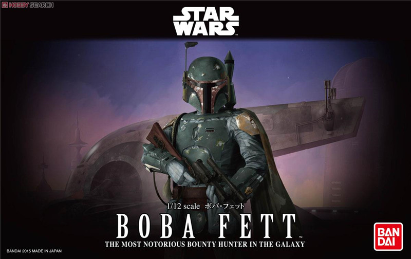 2015 New Genuine Bandai 1:12 Scale Star Wars Boba Fett bounty hunter in the galaxy Plastic Model Building Kits DIY Toys 2015 new genuine bandai 1 48 scale star wars snow speeder modified incom t 47 airspeeder plastic model building kits diy toys