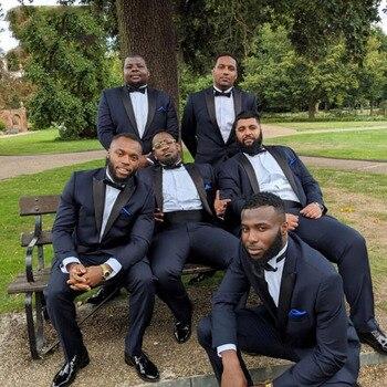 Latest Coat Pant Designs Navy Blue Men Suits for Wedding Groom Tuxedo Slim Fit 2Pieces Male Blazer Jacket Pants Costume Homme
