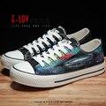 E-LOV D1 Картина Конструкции Ручной Росписью Холст Обувь Персонализированные Взрослых Повседневная Обувь Милые Туфли На Платформе