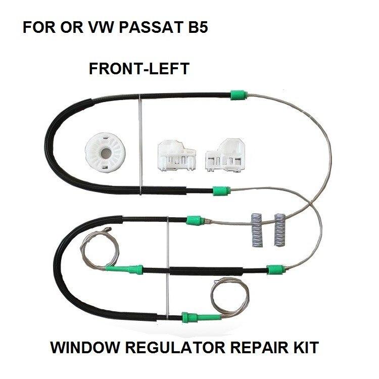VW Passat B5 Conjunto De Reparación Regulador de Ventana Eléctrica Delantero Derecho Lado del conductor