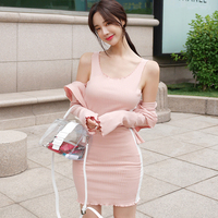Knitted Two Pieces Set Women Full Sleeve Cardigan with Hat and Strap Mini Dress Fashion Open Stitch Sweater Bodycon Dresses 2018