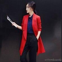 Woman Red Cashmere Palto B Down Coat Winter Autumn Long Warm Wool Jacket Tailored Collar Button Korean Cloak Woolen Coat