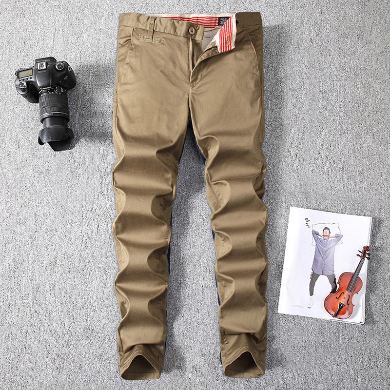 2018 Newly Fashion Men's Jeans High Quality Khaki Color Casual Pants Men Slim Fit Simple Classical Cargo Pants Leisure Trousers high quality brand clothing casual trousers drawstring denim green cargo pants regular fit pockets full jeans pants 28 38 a320