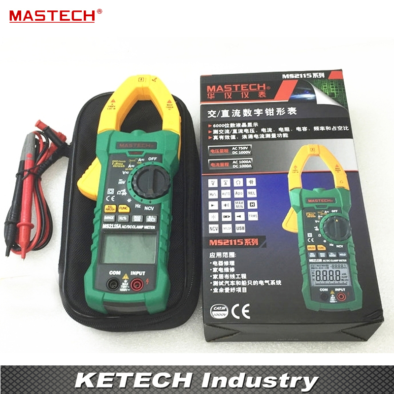 DIGITAL DC AC Clamp Meters Multimeter True RMS Voltage Current Resistance Capacitance 1000A Tester MASTECH MS2115A usb interface multimeter tester test true rms ac dc current voltage resistance capacitance diode temperature duty cycle meter