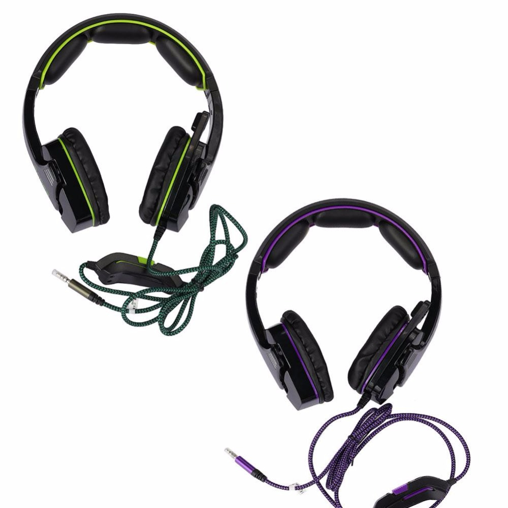 SADES SA-930 PS4 headset Stereo Sound Gaming Headphones with microphone for computer Mobile phones 3.5mm jack Purple/Green Gift kz headset storage box suitable for original headphones as gift to the customer
