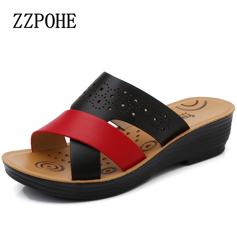 ZZPOHE 2017 Summer new mom fashion slippers middle-aged slope soft bottom women slippers non-slip comfortable beach ladies shoes zzpohe 2017 autumn new mom soft bottom non slip singles shoes large size women shoes casual fashion comfortable flat shoes