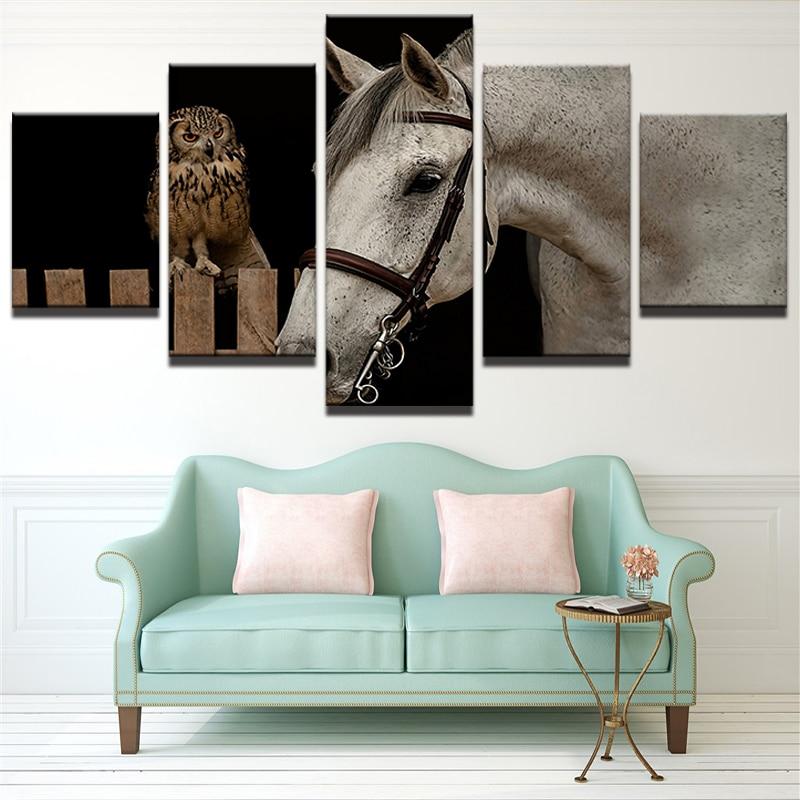 comprar paneles animal caballo blanco y bhos casa moderna decorativa pared cuadros para la sala modular pintura al leo de la lona de