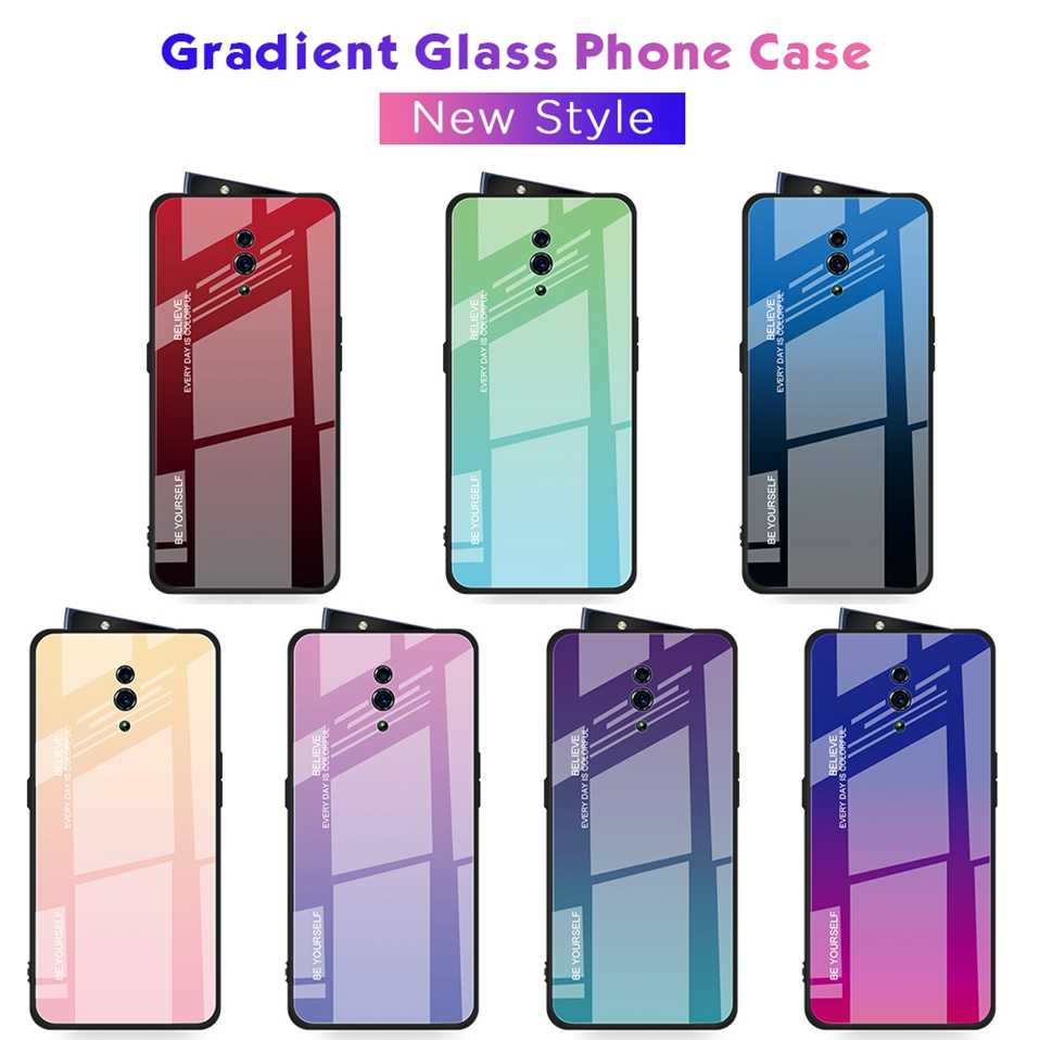 Glass Case for OPPO Reno 10X Zoom R17 Find X Tempered Phone Cover for OPPO F11 R17 R15X Realme 3 Pro R19 K3 K1 X Lite Phone Case