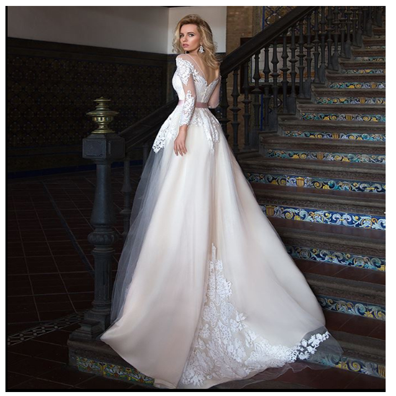 LORIE Champagne Wedding Dress 2019 Long Sleeves Lace Bride Dress Appliques Lace  Sexy See Through Back White Ivory Wedding Gown