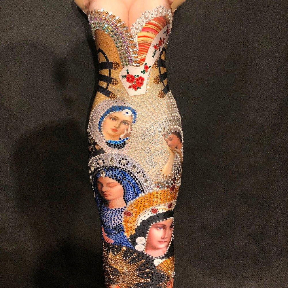 Dress Femmes Portrait Manches Tête Cristaux Bling Sans Imprimé D'anniversaire Stade Longue Discothèque Sexy Fête Marie Robe Mousseux Vierge TXzTrpqw8