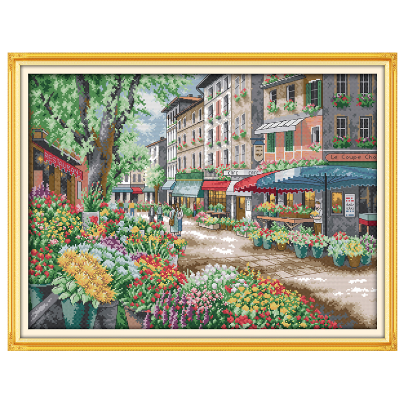 14/18/16/27/28 Paris Flower Market Counted  Cross Stitch Landscape Cross Stitch Kits Embroidery For Needlework Crafts