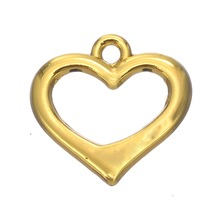 30Pcs rhodium or gold plated open romantic heart charms