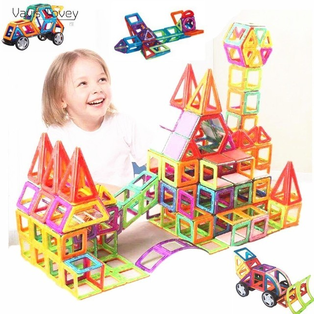 Vavis Tovey NEW DIY Mini Magnetic Constructor Block Educational Sets Model Building Magnet Designer toddler Toys children Gift