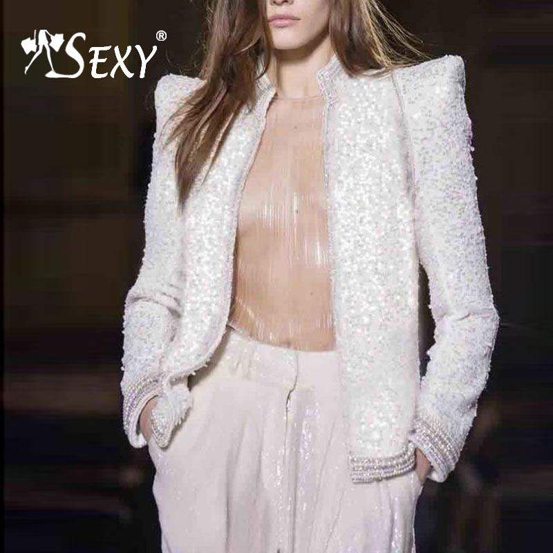 Gosexy 2019 New Women White Outerwear Open Stitch Long Sleeve Casual Coat Beading Fashion Outerwear With