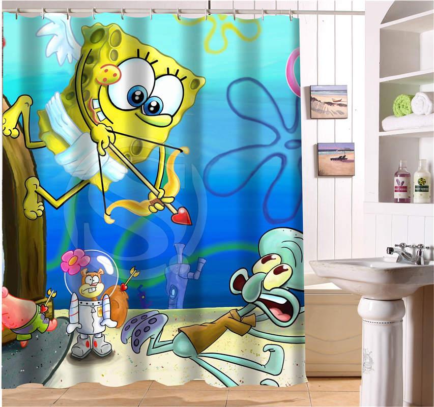 WJY425Y14 Custom SpongeBob Movie Fabric Modern Shower Curtain ...