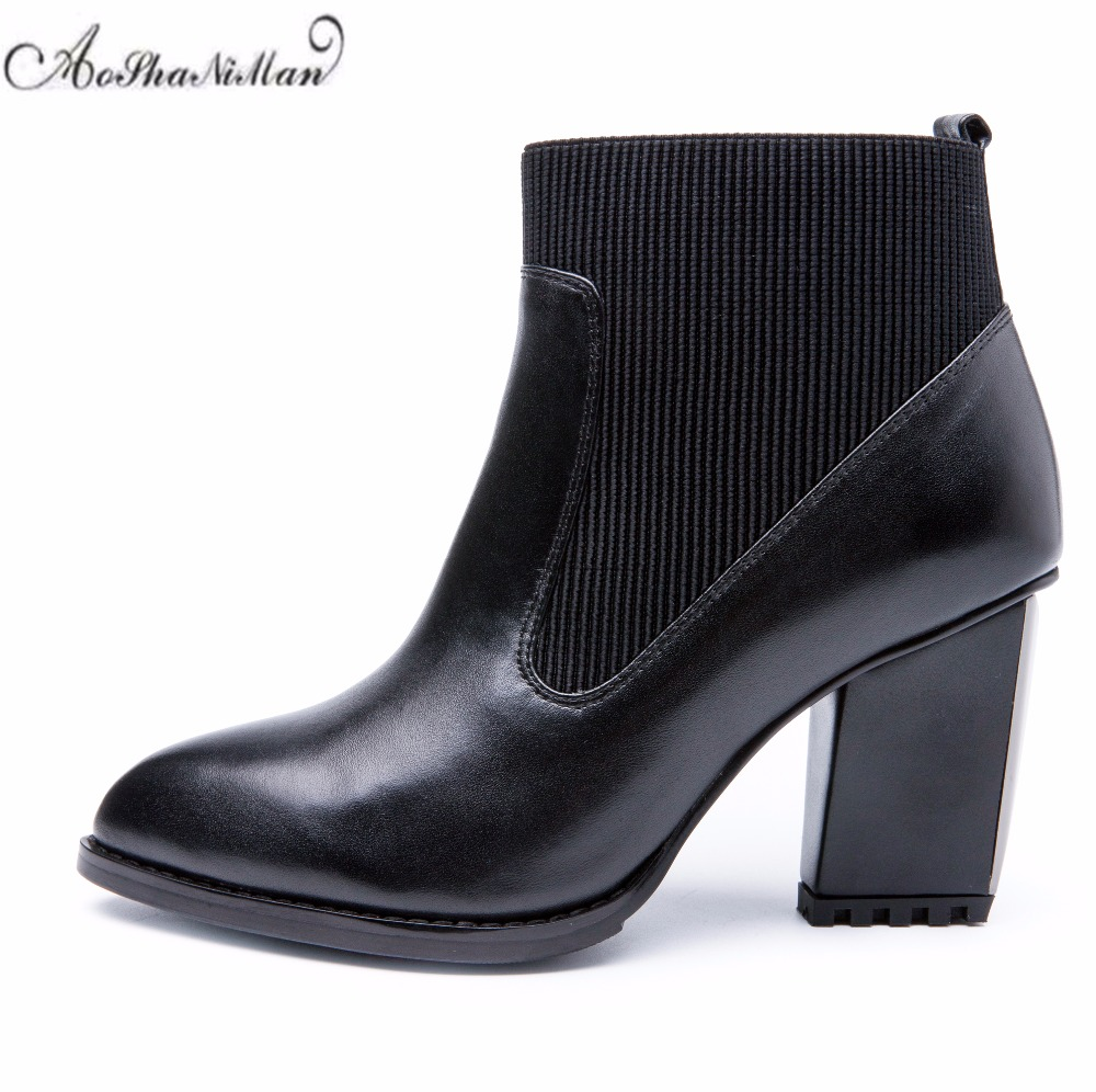 Autumn winter women ankle boots genuine leather middle heels boots ladies 2018 fashion cowhide casual boots dress shoes 34-41