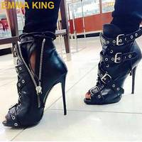 EMMA KING Sexy Rivets Sandals Boots Peep Toe High Heels Shoes Side Zip Buckles Women Summer Booties Plus Size Ladies Ankle Boots