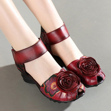 2016 Women Thick Heels Sandals Closed Toe Flower Ethnic Style Handmade Genuine Leather Personalized Women Sandal
