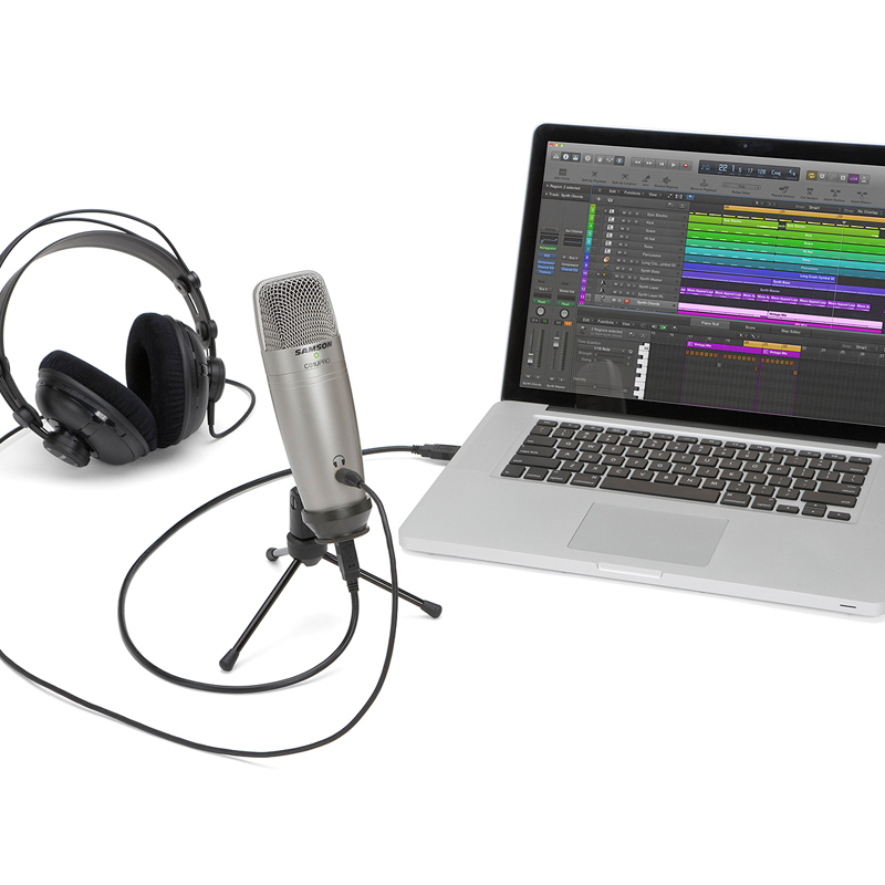 Samson C01U Pro USB Studio Condenser Microphone with Real time monitoring large diaphragm condenser microphone for