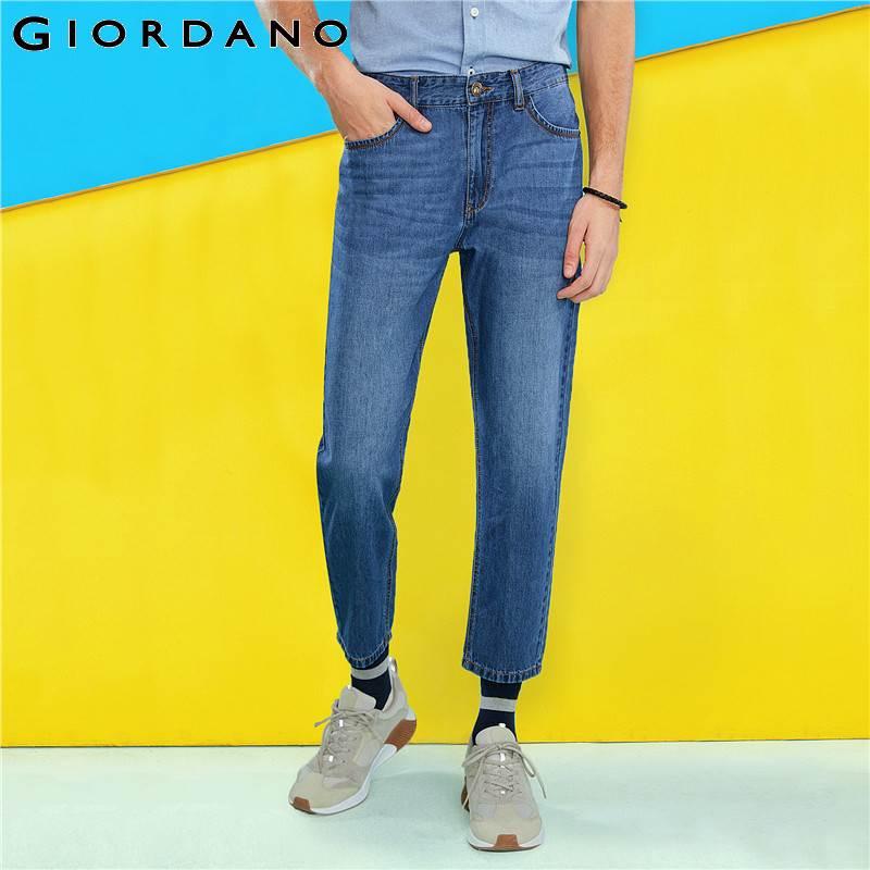 Giordano Men Denim   Jeans   Whiskered Effect 100% Cotton Slim Fit Thin Cool Denim Men   Jeans   Pockets Zip Fly Moustache Effect   Jeans