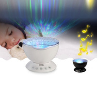 Ocean Wave Starry Sky LED Projector Aurora Night Light Novelty Lamp USB 7Colors Remote Control Nightlight Illusion For Baby