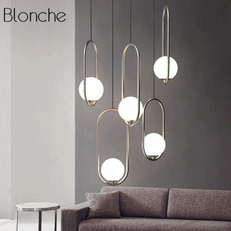 Nordic Italy Designer Pendant Light Loft Simpel Ring Hanging Lamp Creative Studio Living Room Cafe Led Glass Ball Light Fixtures цена