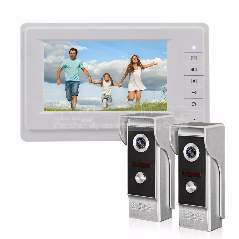 DIYSECUR 7 Inch TFT Color LCD Display Video Door Phone Video Intercom Doorbell 700TVLine HD IR Night Vision Camera 2V1