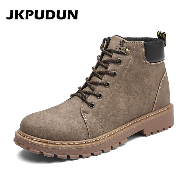 b99766a6c JKPUDUN Hombres Hechos A Mano Zapatos Casuales Botines de Cuero Botas  Militares Para Los Hombres Botas