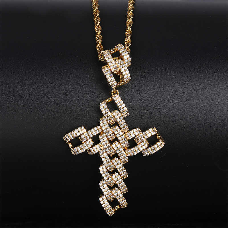 Iced Out Curb Cuban Chain Cross Pendant Necklace Mens/Women Micro Pave CZ Charm Personalized Chain Hip Hop Jewelry For Gifts
