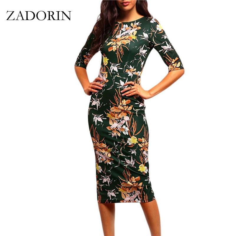 2019 Vintage Floral Print manga corta Bodycon Lápiz vestido de mujer vestidos elegantes del verano vestido ocasional túnica femme vestidos mujer