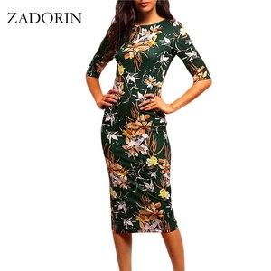 2019 Vintage Floral Print Short Sleeve Bodycon Pencil Dress Women Elegant Dresses Summer Casual Dress robe femme vestidos mujer