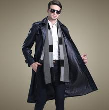 Korean autumn black suit collar casual leather coats men slim single-breasted long coat mens trench fashion 4XL