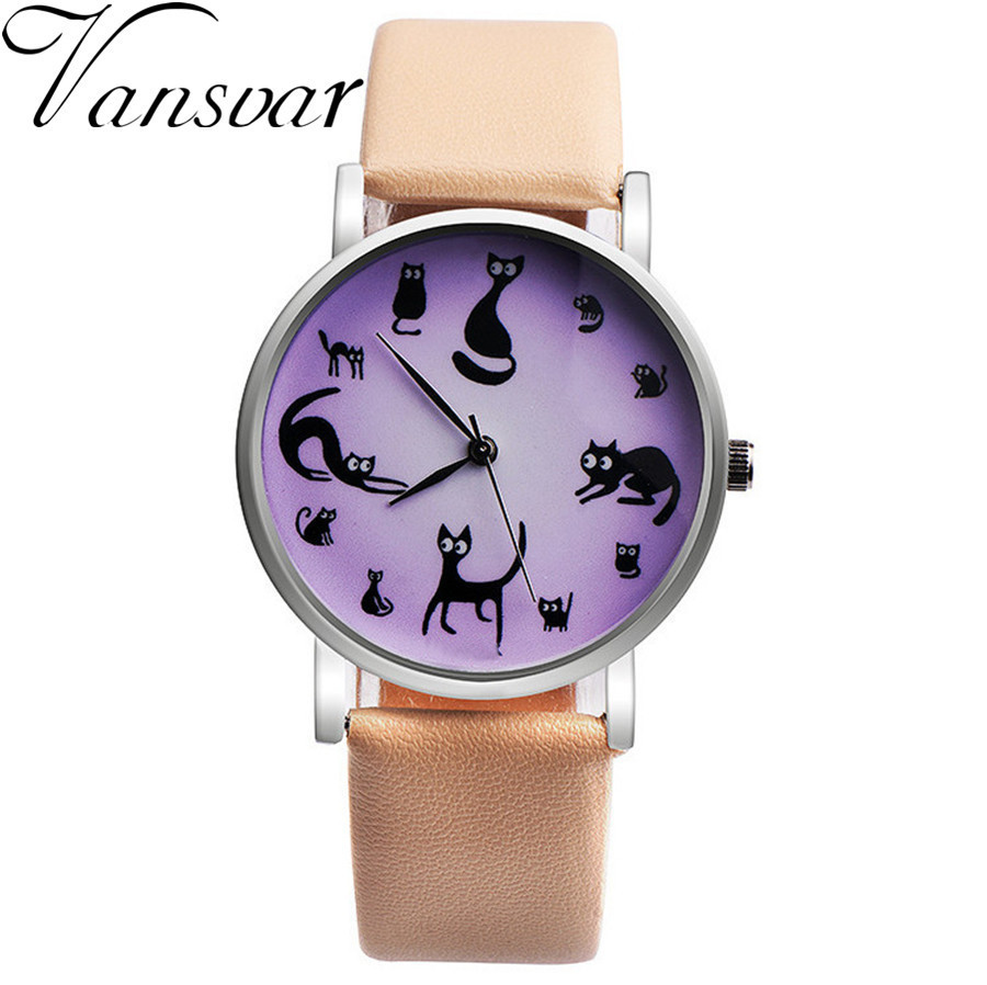 Vansvar Brand Fashion Girls Lovely Cat Watch Casual Women Wristwatches Leather Strap Quartz Watches Relogio Feminino spider man play arts kai juguetes pvc action figure amazing spiderman play arts spider man kids toys brinquedos