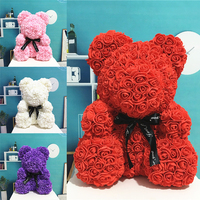 Hot Sale 40cm Soap Foam Bear of Roses Teddi Bear Rose Flower Artificial New Year Gifts for Women Valentines Gift Christmas Party