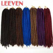 Leeven 18'' 24strands 100g Dread Faux Locs Synthetic Braiding Hair Extension High Temperature Fiber Crochet Braid For Women 1PCS(China)
