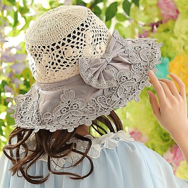 Free Shipping Crochet Crown Lace Pattern Sun Hat For Women Fashion
