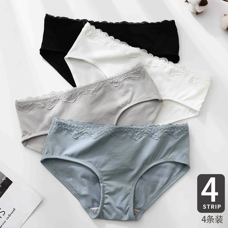 high quality 100% cotton Solid color Sexy Comfortable Antibacterial Women's underwear Girls Lace Cotton aphid Mid Rise Briefs