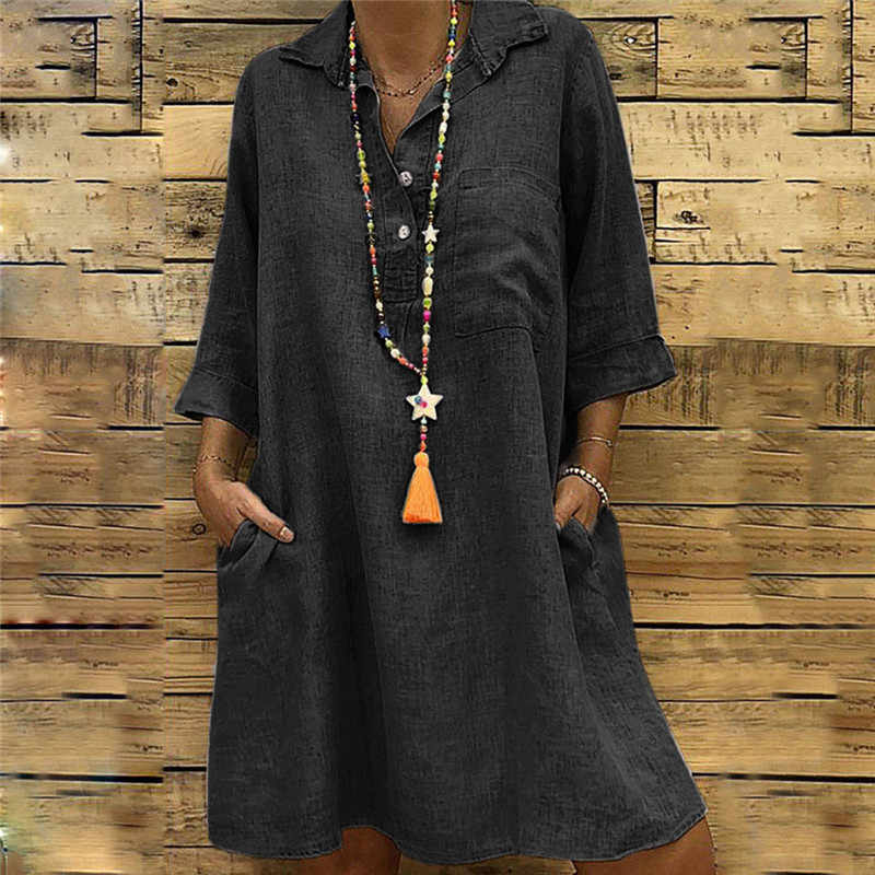 Summer Dress Solid Boho Dresses Large Sizes Solid Turn-down Collar 3/4 Sleeve Casual Pocket Button Dress Bohemian Dress