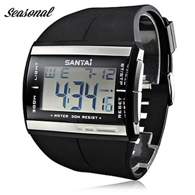 Santai Fashion Men 's Sports Watch impermeable exterior LED reloj digital banda de goma reloj reloj hombre Montre Homme