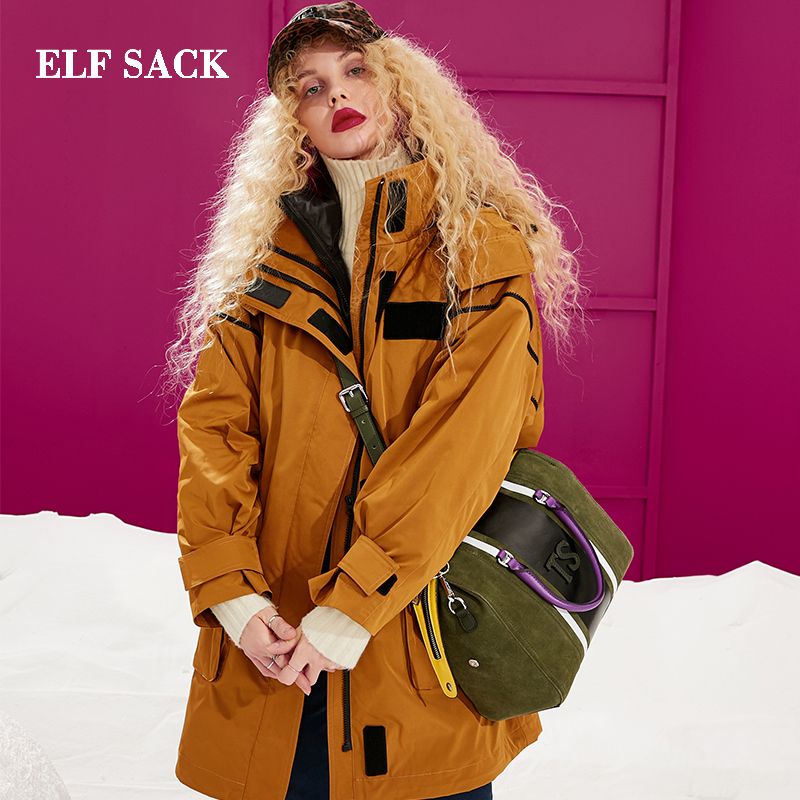 ELF SACK New Oversized   Down   Jacket For Woman Winter Wearing Casual Thick White Duck   Down     Coats   Women Streetwear Female Jackets
