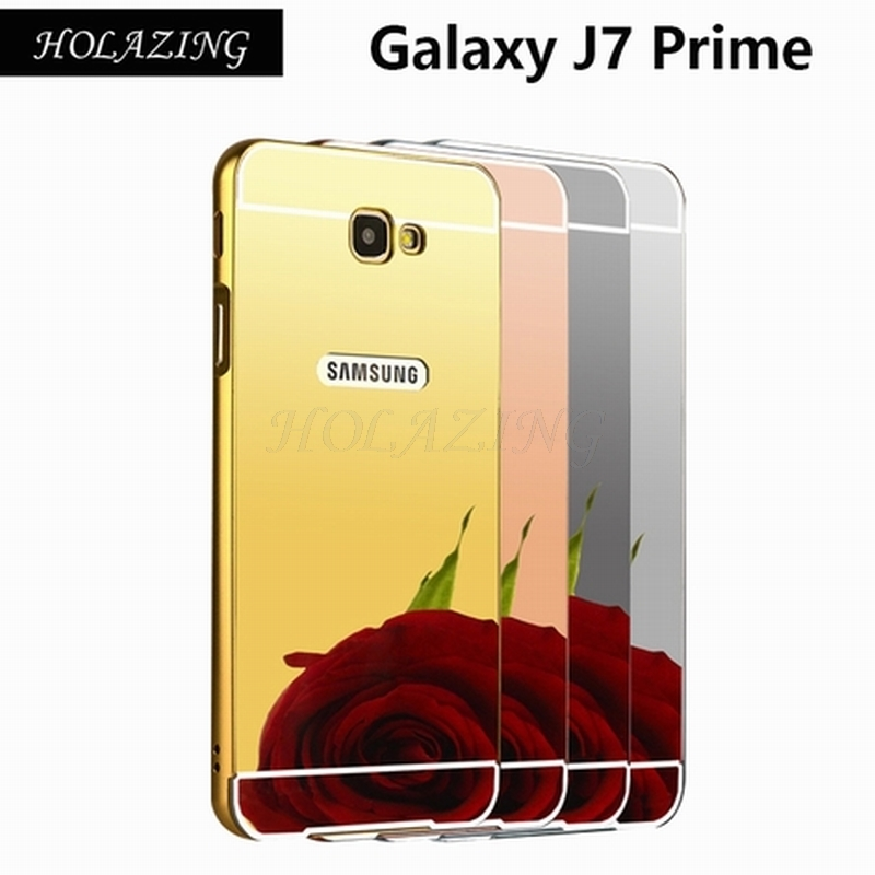2 in 1 Aluminum Metal Bumper Frame & Back Mirror PC Full Body Case For Samsung Galaxy J7 Prime/On7 2016 Anti-Shock Cover