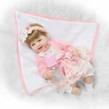 18 Bebe Reborn Babies Cotton body Hiqh quality menina de Silicone toddler Arianna Tatiana Wig boneca silicone Juguete Brinquedo
