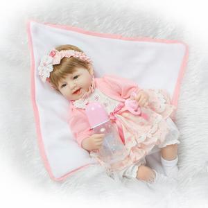 "18"" Bebe Reborn Babies Cotton body Hiqh quality menina de Silicone toddler Arianna Tatiana Wig boneca silicone Juguete Brinquedo"