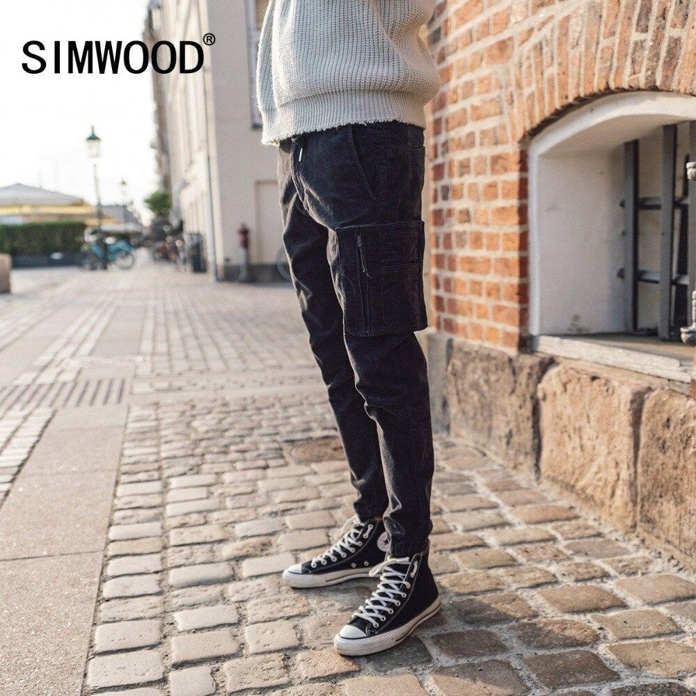 SIMWOOD Брендовые повседневные мужские штаны-карго 2019 зимние длинные толстые вельветовые брюки мужские узкие брюки хлопок плюс размер трениро...