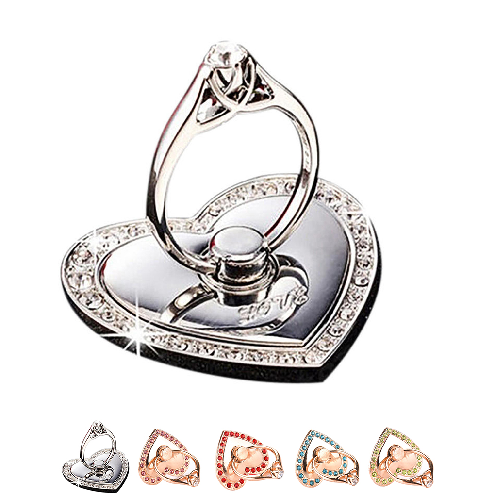 Heart Shaped Mobile Phone Support Holders Metal Rhinesone 360 Degree Rotating Ring Frame Brackets Accessories