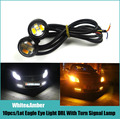 10X 23MM Dual Color LED Eagle Eyes White/Amber LED Daytime Running Light With Yellow Turn Signal Lamp Waterproof